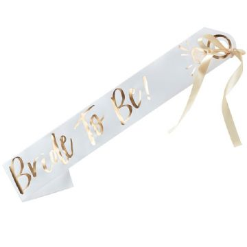 Bride to Be Sash - White & Gold